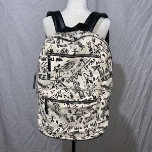 Fabric Backpack with Graffiti